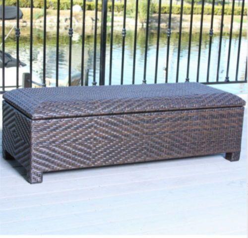 30 Gallon Wicker Storage Bench Patio Furniture Water