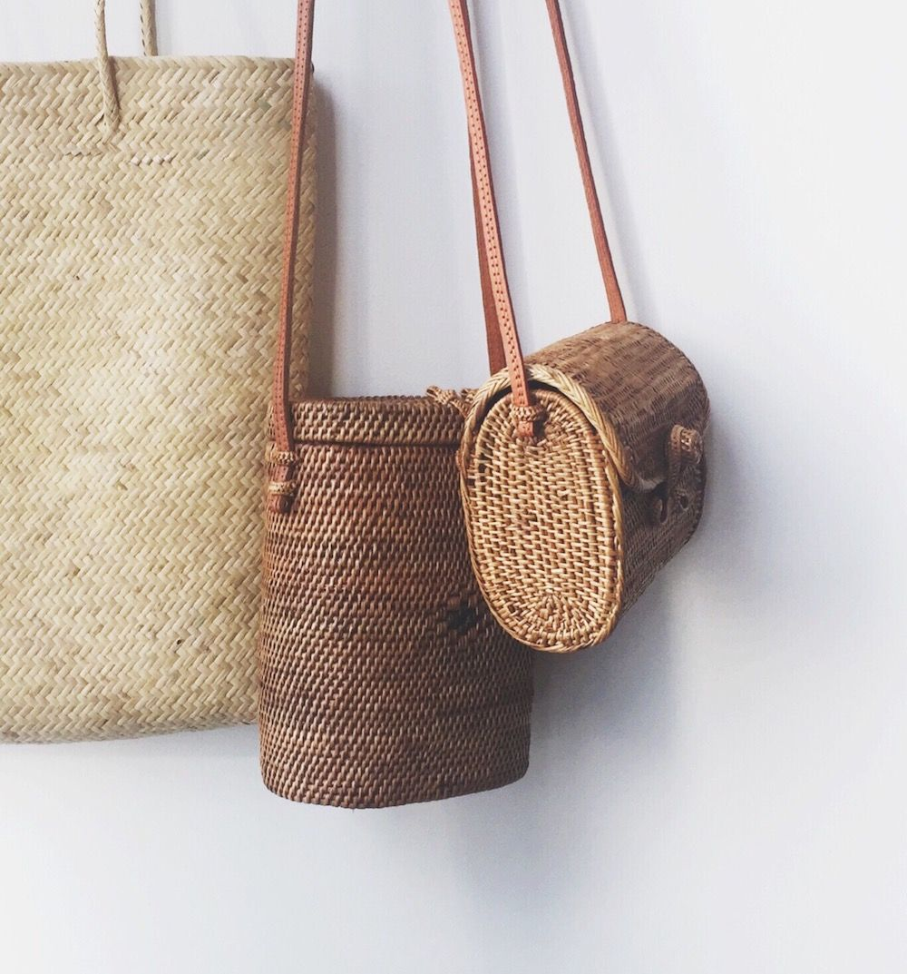 Ethnic Bamboo Rattan Wicker Straw Shoulder Bag Crossbody Beach Woven Handbag