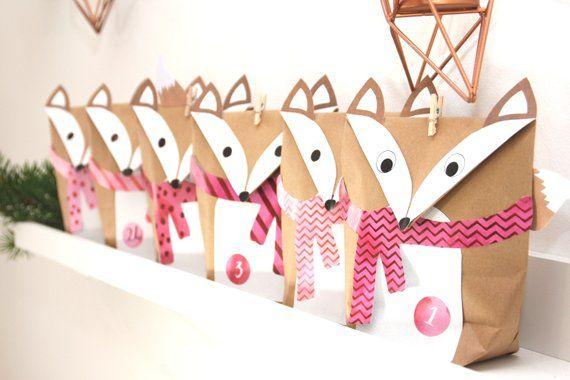 Ähnliche Artikel wie Adventskalender Füchse Pink 24 Geschenktüten braun auf Etsy