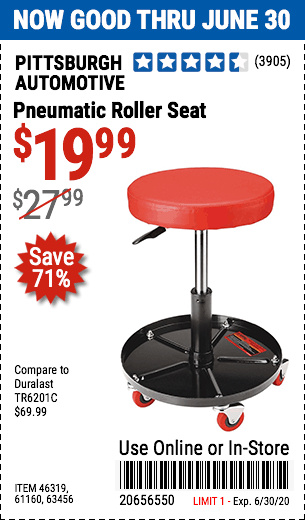 Pneumatic Roller Seat In 2020 Harbor Freight Tools Roller Seating