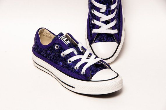 9cbafa5312f929 Tiny Sequin - Starlight Grape Purple Converse All Star Low Top Canvas  Sneakers Shoes