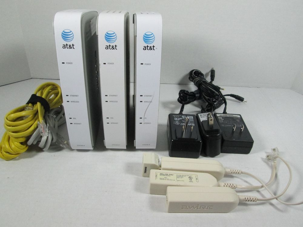 Lot of 3 AT&T 2701HG-B 2WIRE Hi Speed Internet Wireless Router ...