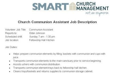 Church Communion Volunteer Job Description  Church Managment