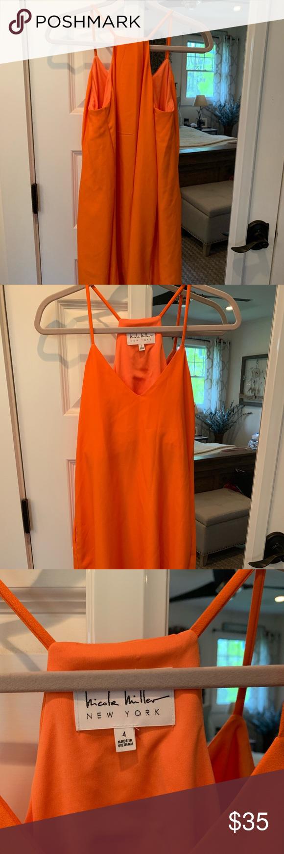 Nicole Miller Dress With Built In Bra Support Nicole Miller Dresses Support Bras Bright Orange Dress [ 1740 x 580 Pixel ]