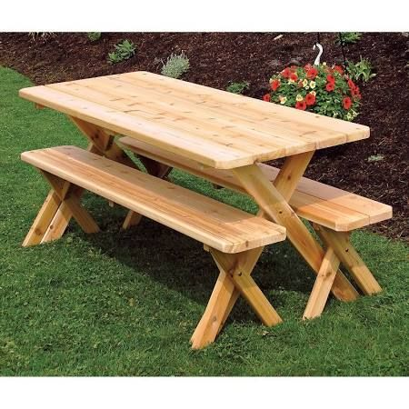 Wood Picnic Tables With Detached Benches 6 Foot Google Search Picnic Table Bench Picnic Table Picnic Table Plans