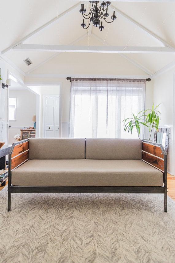Modern Redwood Sofa or Daybed, Steel Frame, Custom, \u0027Meyers\u0027 Series
