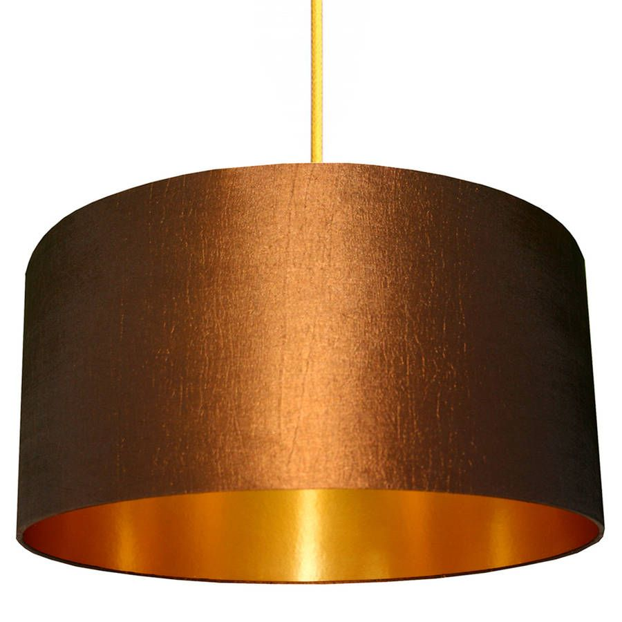 Handmade Gold Lined Lampshade In Chestnut Gold Lamp Shades Gold Lamp Fabric Lampshade