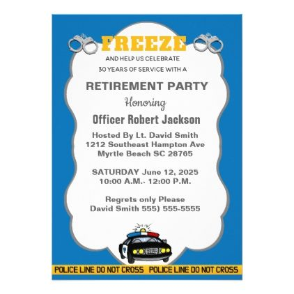 Funny Police Officer Retirement Party Invitation In 2019 Various