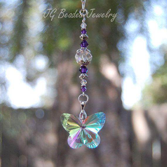 Purple swarovski and butterfly crystal suncatcher for Swarovski decoration crystals