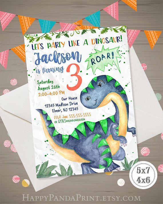Dinosaur Birthday Invitation Watercolor Party Invite 1st Boys Dino