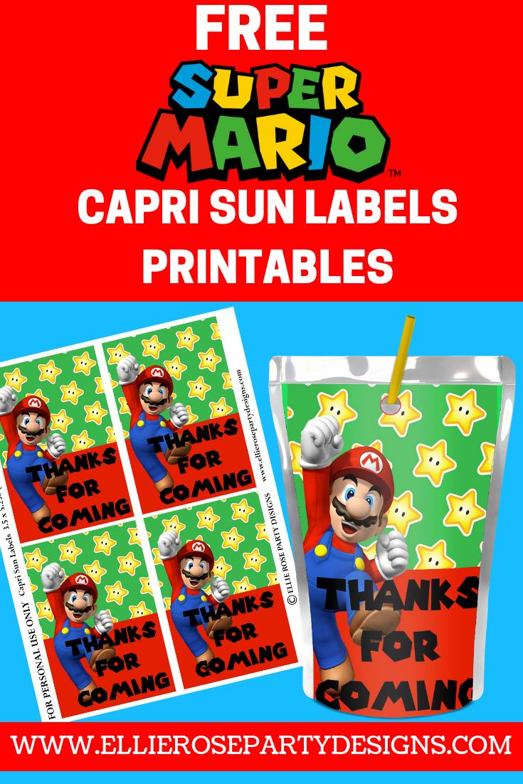 Super Mario Capri Sun Juice Label Printable Free To Download Ellierosepartydesigns Com Mario Bros Party Super Mario Bros Party Mario Brothers Birthday Party