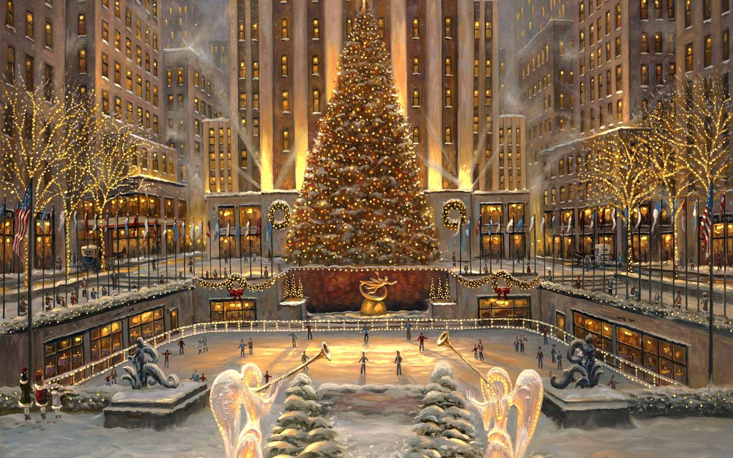 Christmas snow city bing images a winter 39 s holiday for Home holidays new york manhattan