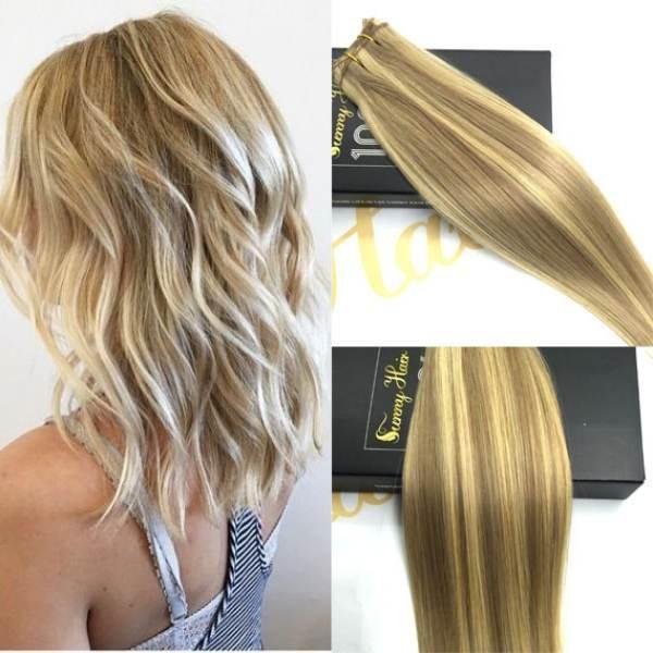 Human Weft Hair Extensions Dark Ash Blonde With Medium Blonde