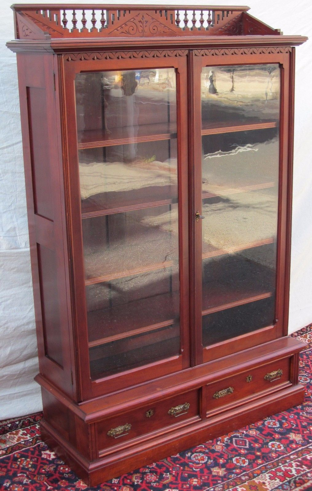EASTLAKE VICTORIAN CHERRY BOOKCASE WITH NICELY DEFINED
