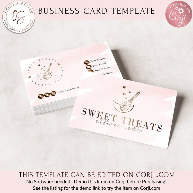 Bakery Business Card Template Business Card Bakery Logo
