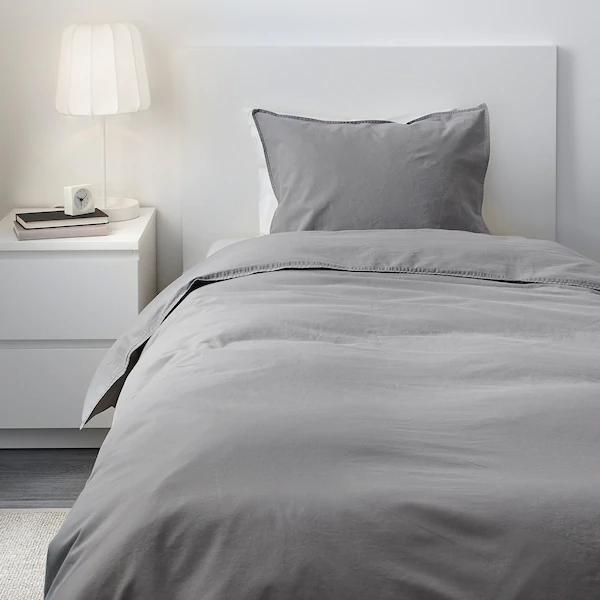 ÄNGSLILJA Duvet cover and pillowcase(s), gray, Twin IKEA