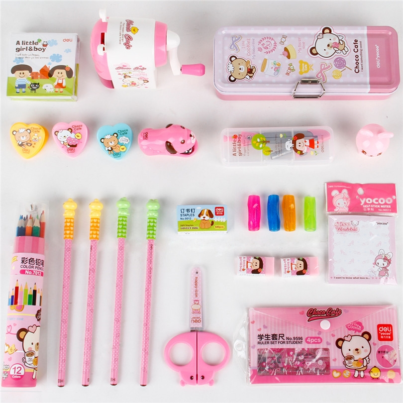 33.10$  Watch now - Deli School Stationery Set A gift designed for children Cartoon Stationery Set Pink Blue Pack Student Stationery Set  #aliexpressideas