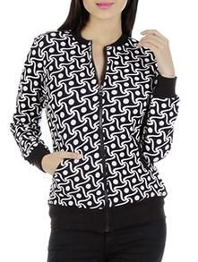 monochrome Cotton Lycra Jersey printed bomber jacket -www.cooliyomob.shoptimize.in