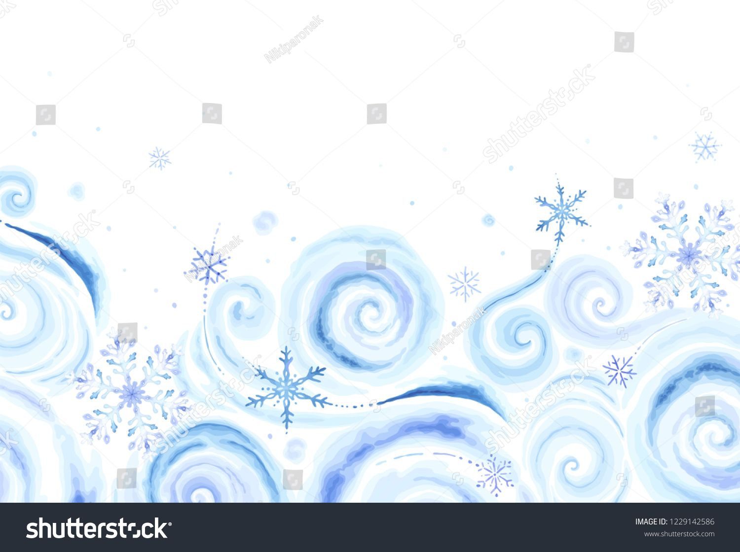 Christmas rectangle banner with colorful snowflakes and winter blizzards for your text in vintage watercolor style. Vector holiday illustration blue, purple and turquoise colors on white background. #Sponsored , #ad, #blizzards#winter#text#watercolor