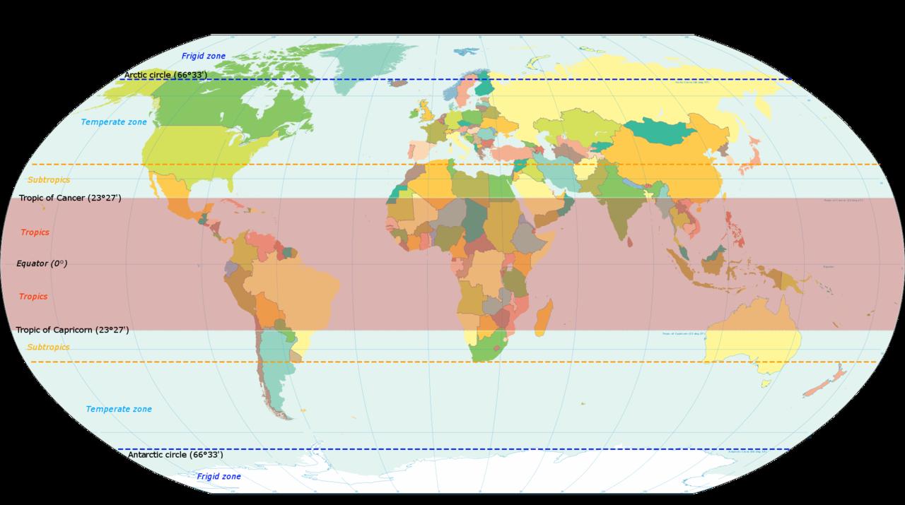 World map indicating tropics and subtropics Temperate