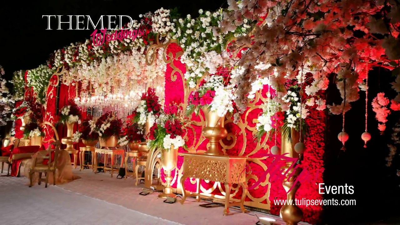 Outdoor Royal Red & Gold Baraat Wedding Event decor in Pakistan | Pakist...  in 2020 | Wedding event decor, Royal decorations, Gold wedding reception