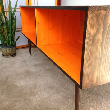 Mid Century Modern Record Cabinet Media Table Tv Stand Entertainment Mcm Orange And Chocolate