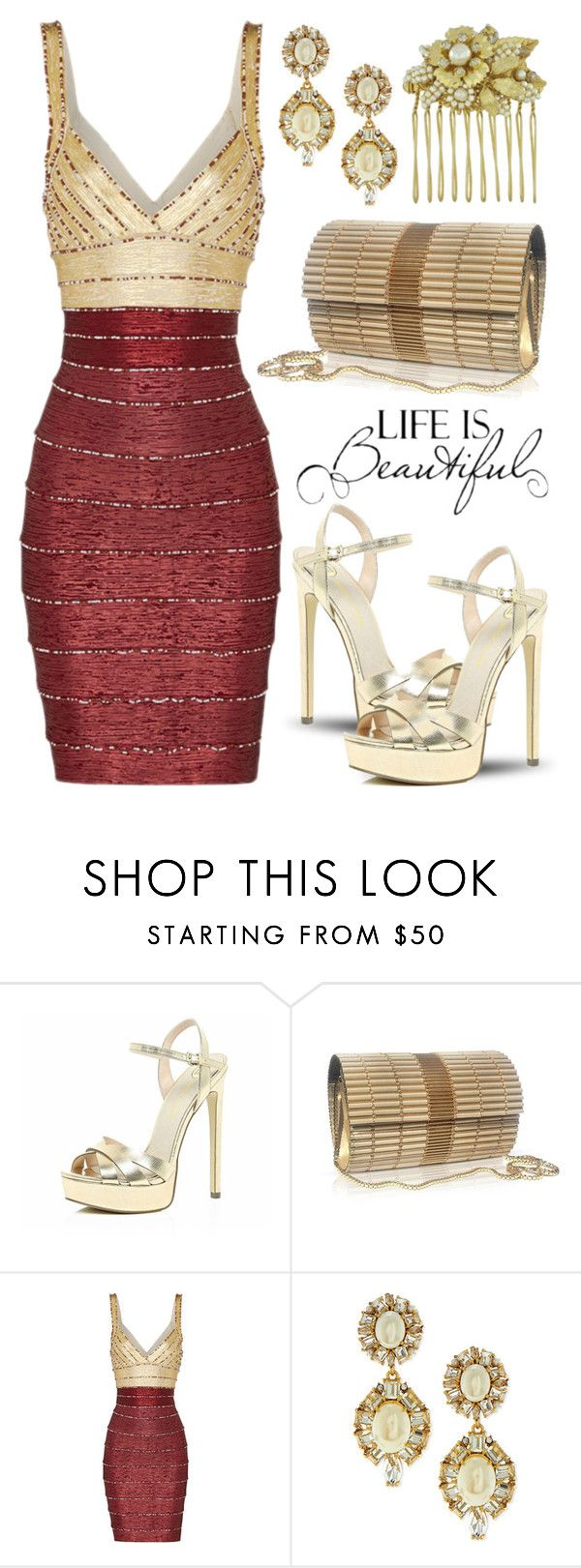 """""""Gold mines"""" by boxthoughts ❤ liked on Polyvore featuring River Island, Kate Spade and Miriam Haskell"""