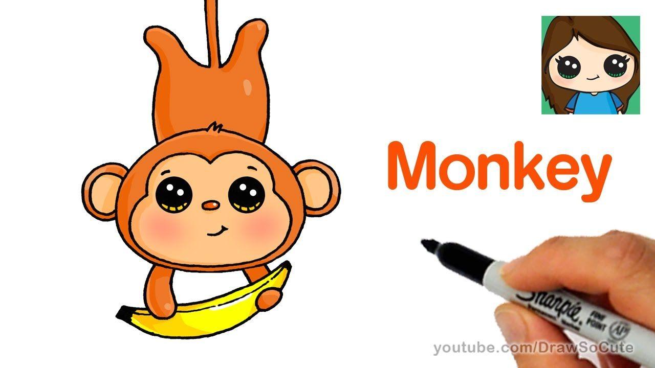 How to draw a cartoon monkey easy cute cartoon drawings