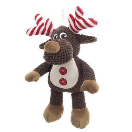 Holiday Time Striped Antlers Moose Stuffed Dog Toy With Squeaker