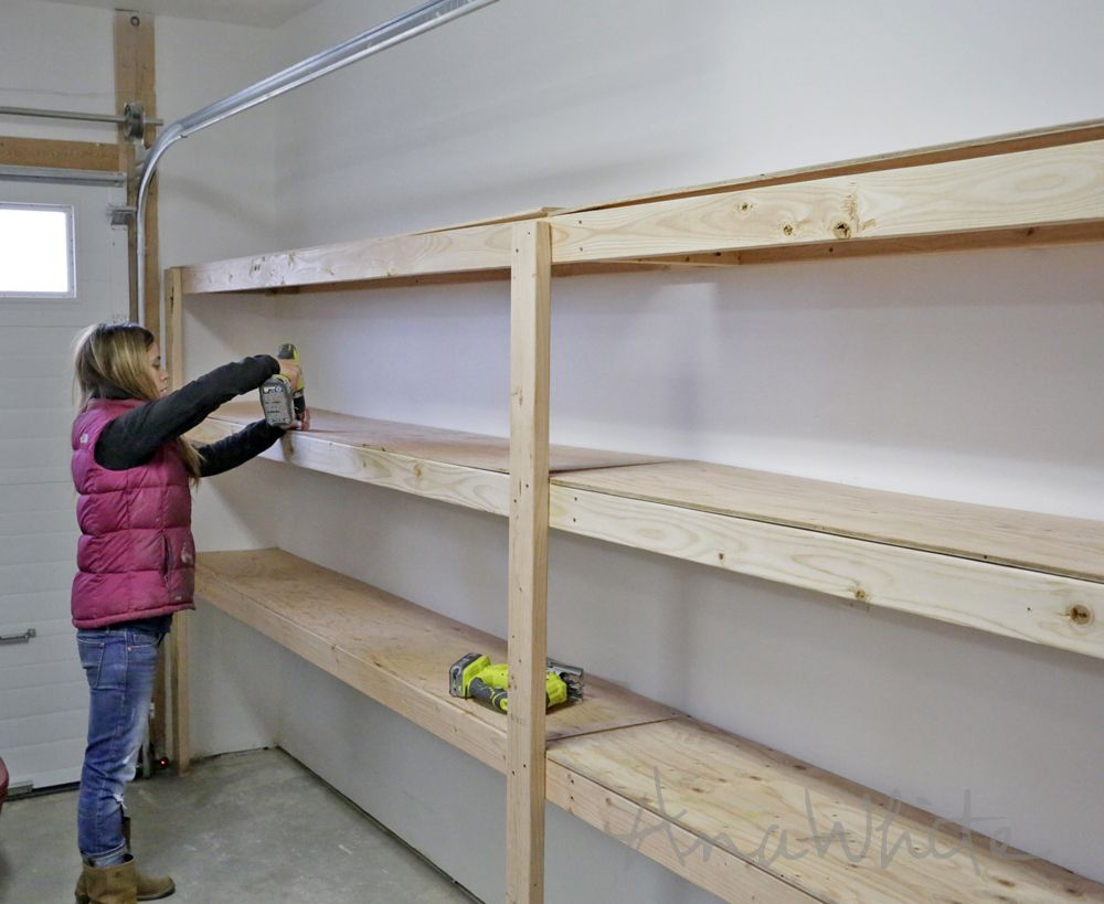 Ana white build a easy and fast diy garage or basement for How to make wall shelves easy