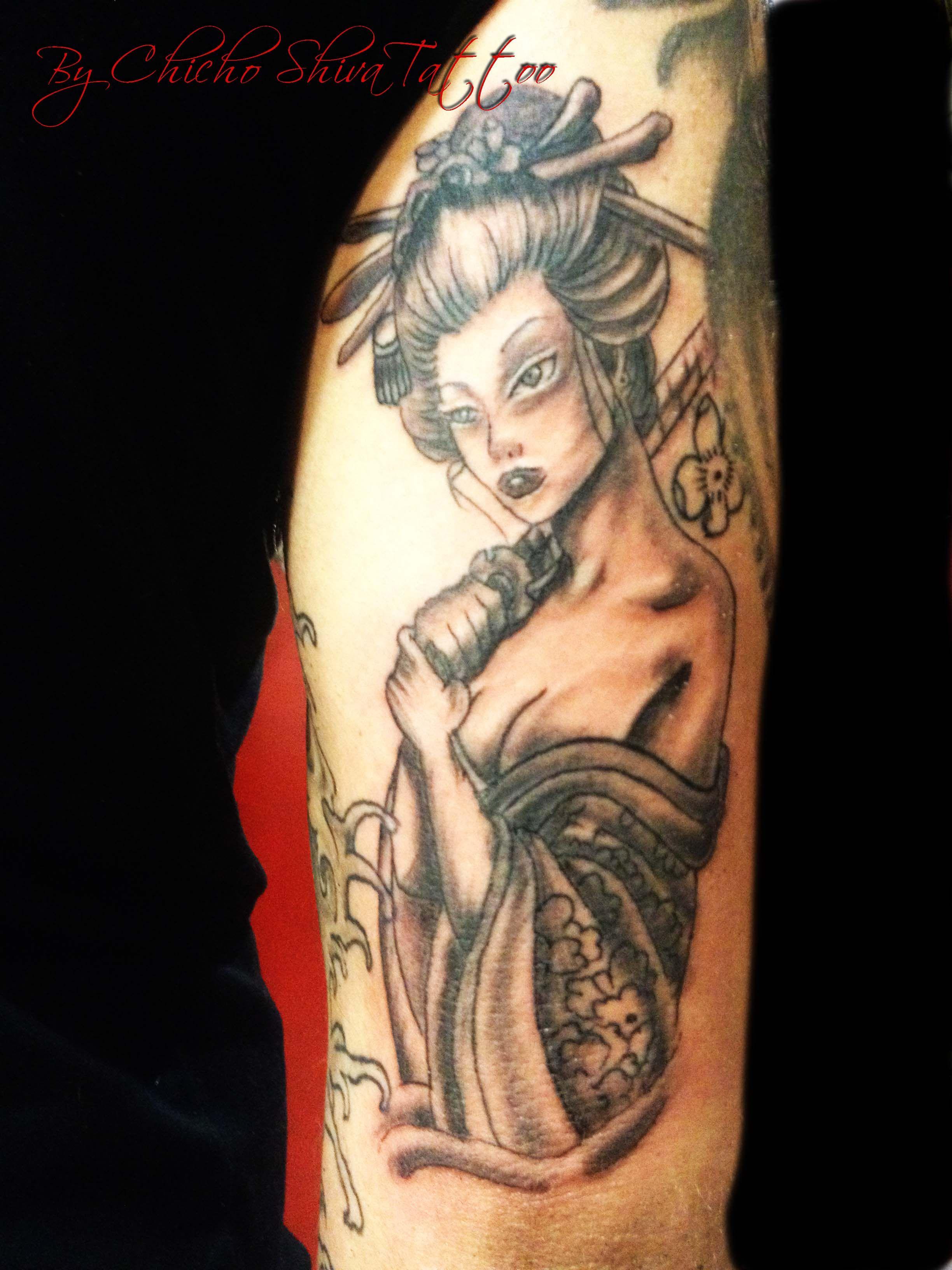 Tatuaje Tattoo Geisha Brazo Tatuajes By Chicho Shiva Tattoo