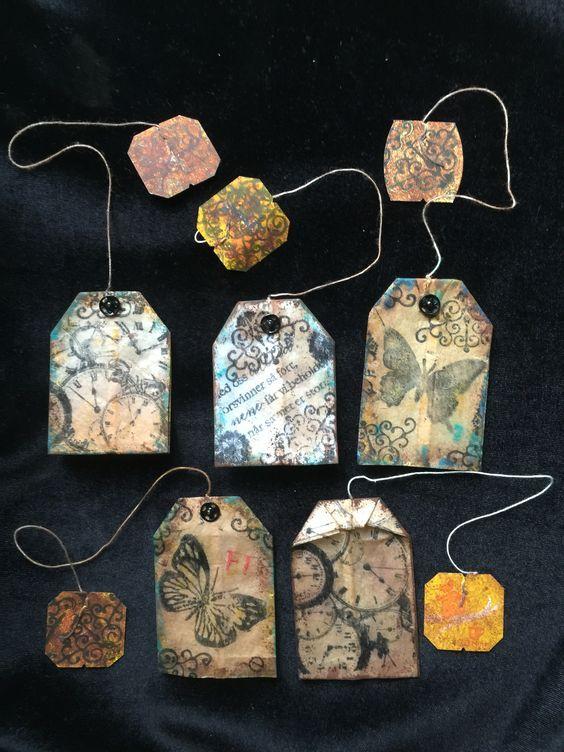Mis originales marcapaginas con bolsitas de té. My art on teabag bookmarks: