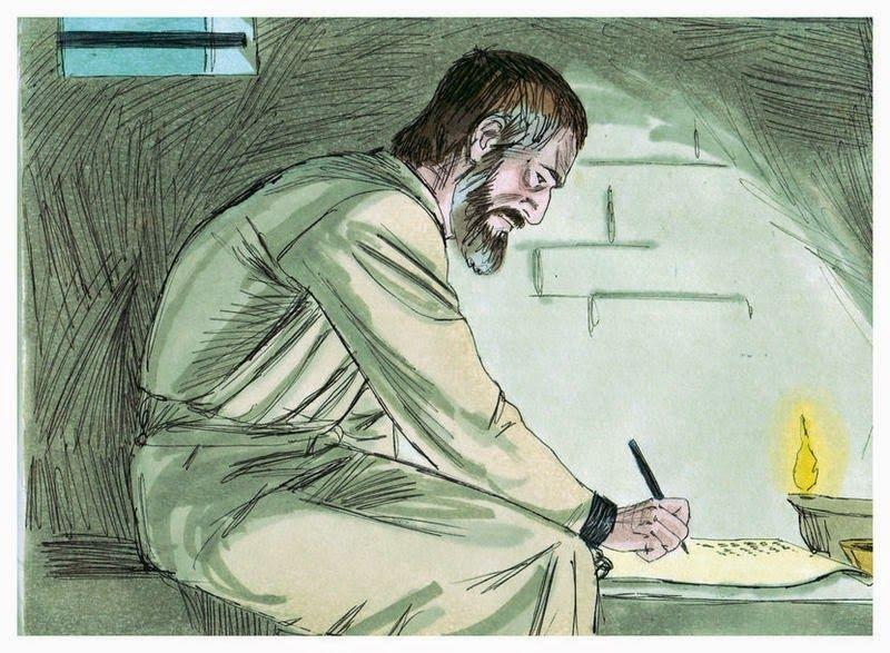 The apostle paul writing an epistle