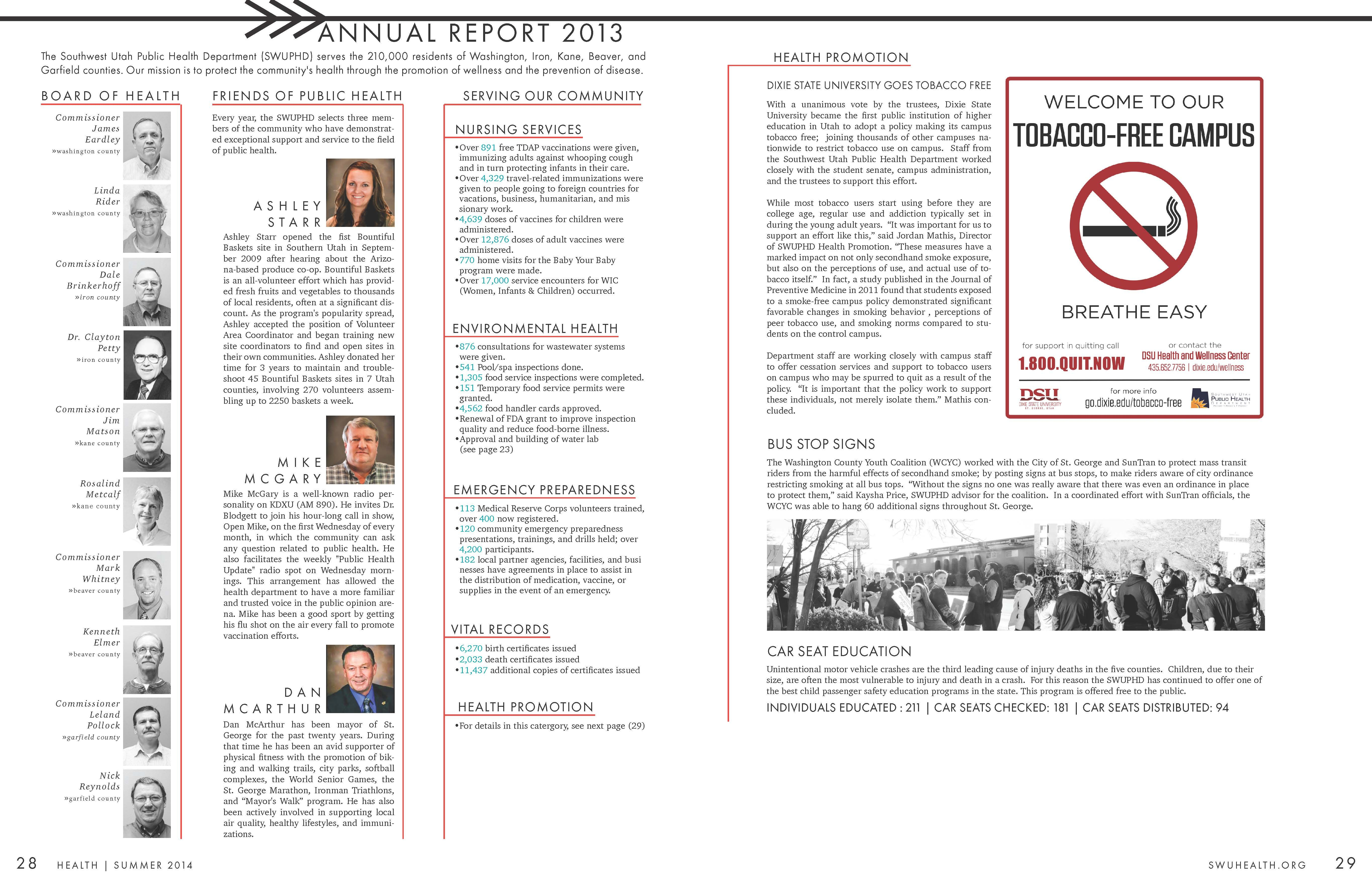 Annual Report For The Southwest Utah Public Health Department Part I Health Department Tobacco Free Health Magazine