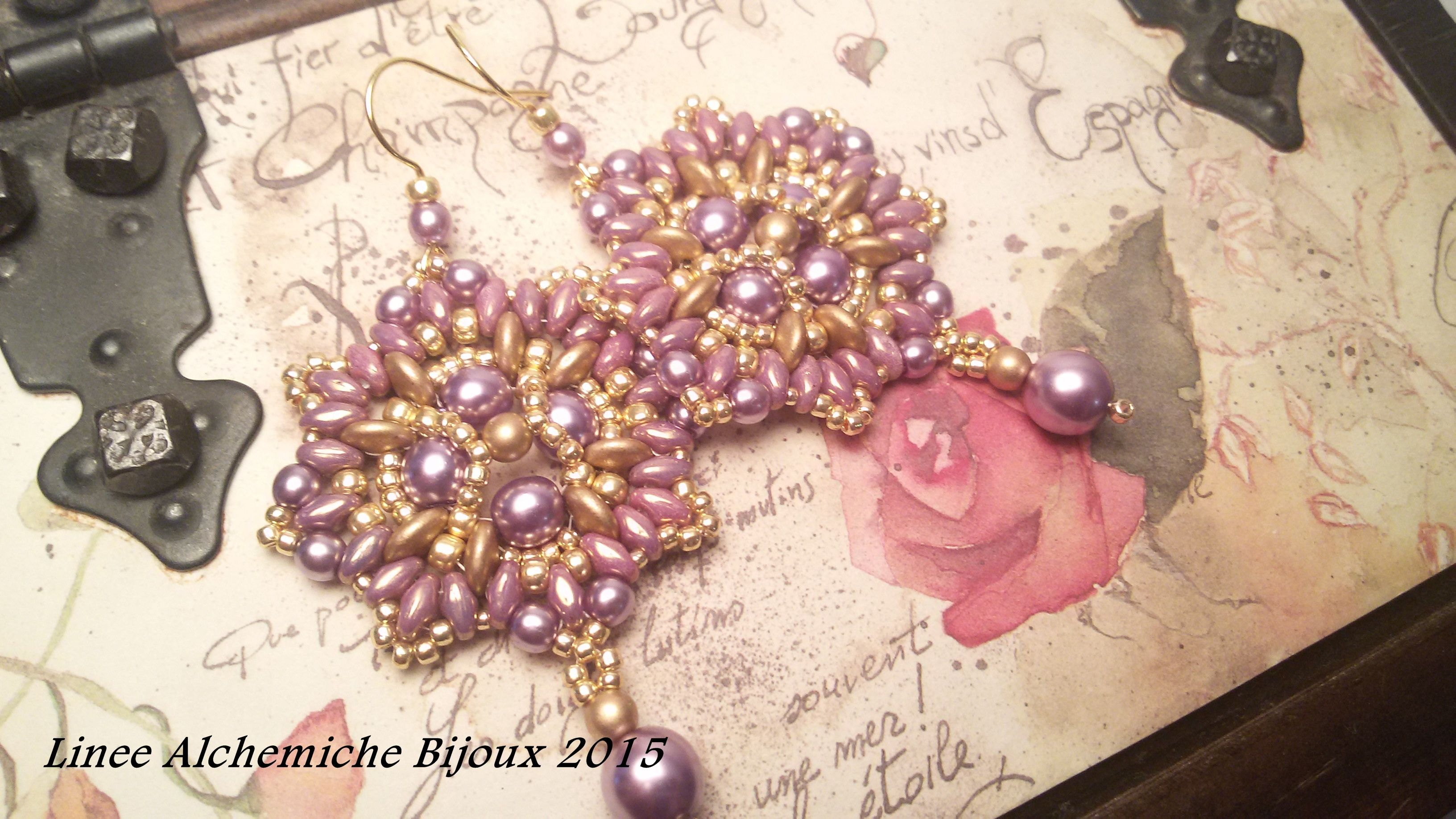 Mademoiselle earrings TUTORIAL, earrings tutorial with round pearl. Purple earrings with beads. How to make beaded purple earrings.  Pattern available on my etsy shop: https://www.etsy.com/listing/223025059/superduo-bead-tutorial-mademoiselle?ref=shop_home_active_5