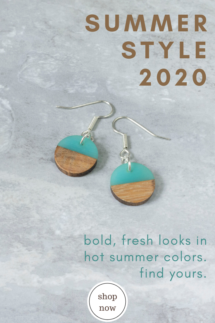 Limited Edition Fun Earring Gift for Sister Resin Wood Jewelry Summer Color Block Earrings
