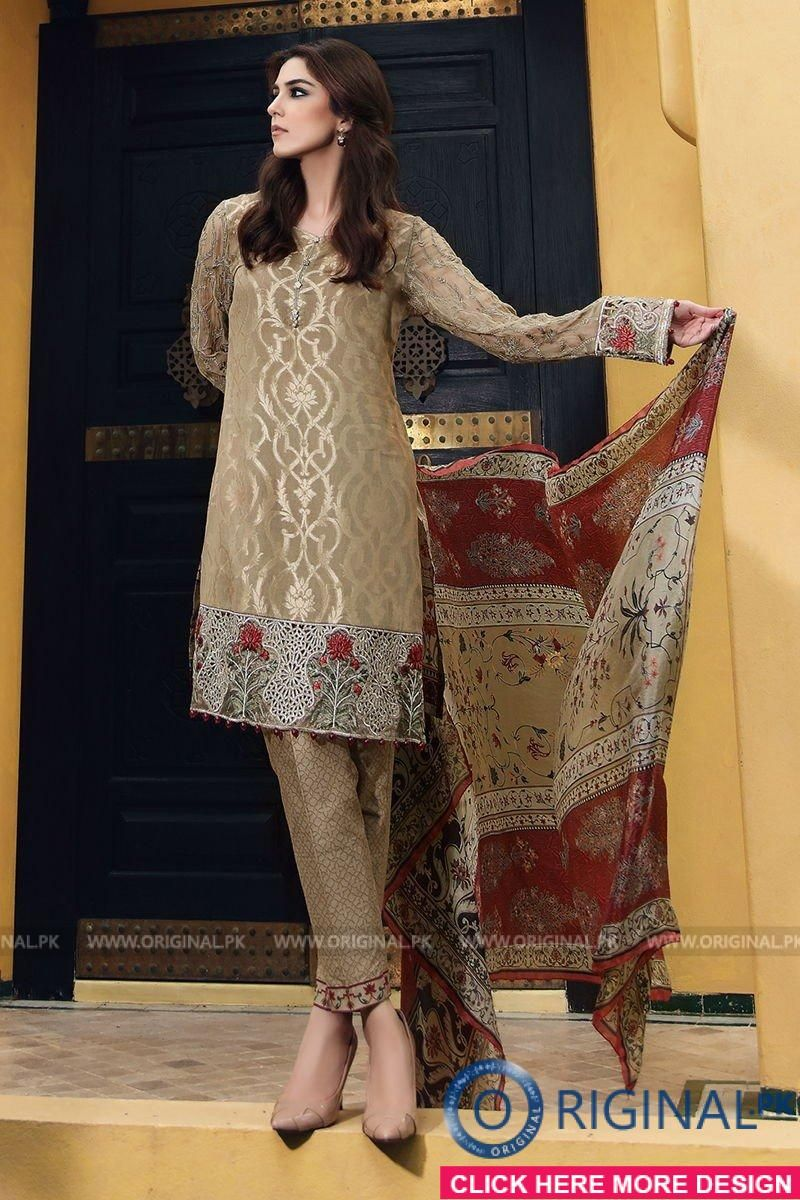d697f858d0 Maria B D-409 Coffee Lawn Eid Collection 2017 | Shopping | Dresses ...
