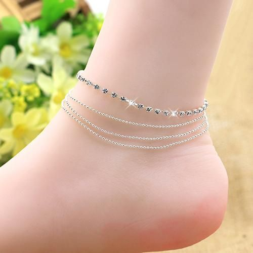 Photo of Women's 4 Layers Rhinestone Beads Sandal Beach Anklet Ankle Chain Foot Jewelry – as the picture