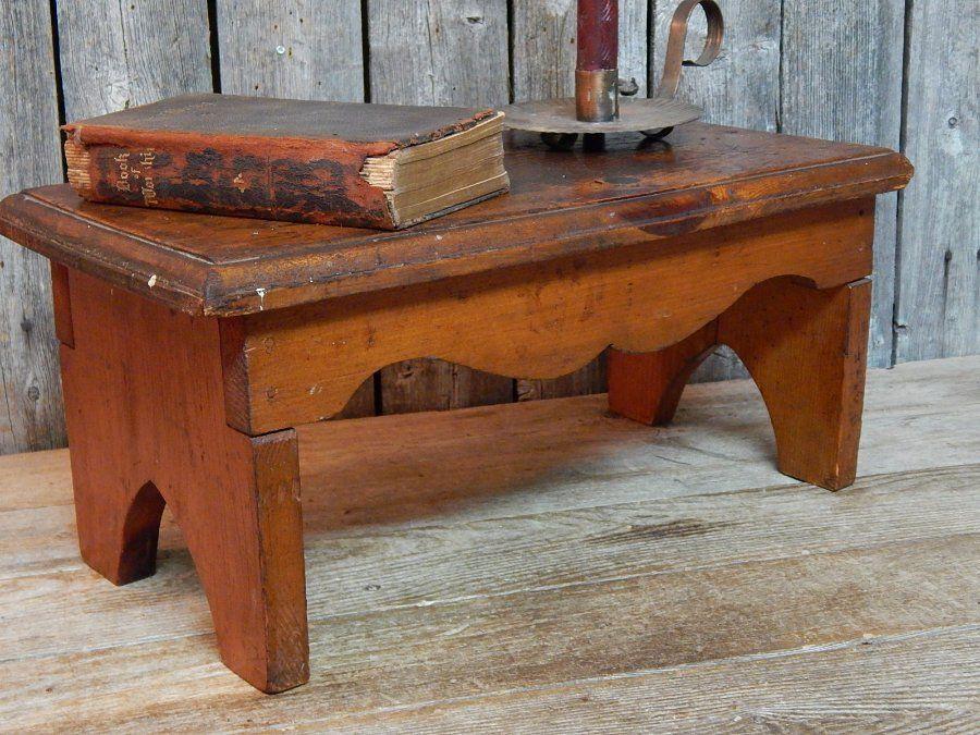 Antique Vtg Primitive Wooden Bench Stool Boot Jack Sides