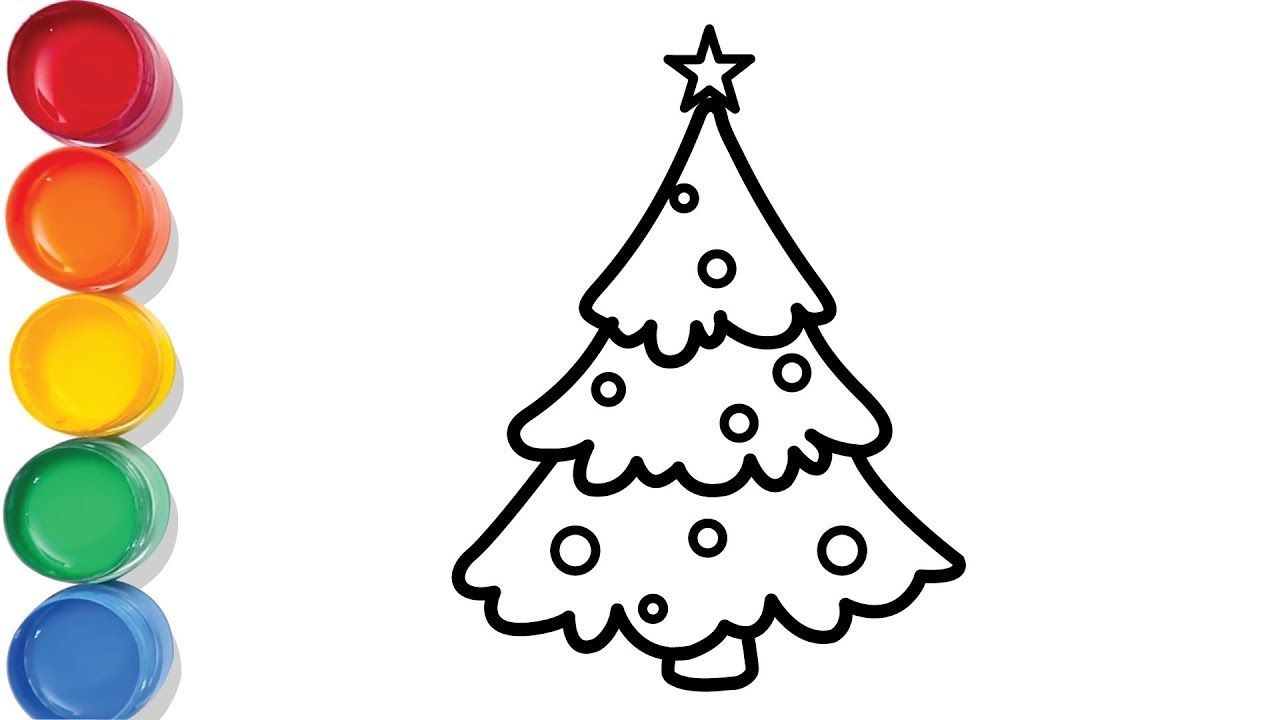 Christmas Tree Drawing And Coloring For Kids Baby Chuchu Colors Tv Christmas Tree Drawing Tree Drawing Coloring For Kids
