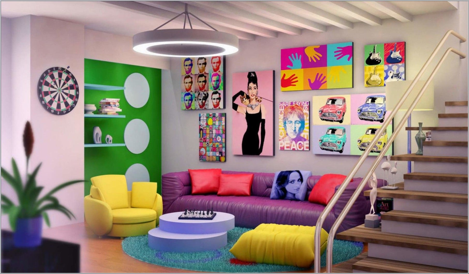 Pop Art Inspiration Decor Interior Design Fancy Living RoomsLiving Room