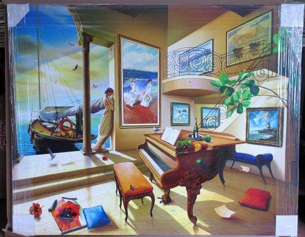 Orlando Rafael Quevedo Original Oil Play of the Waves C Monet V Van Gogh