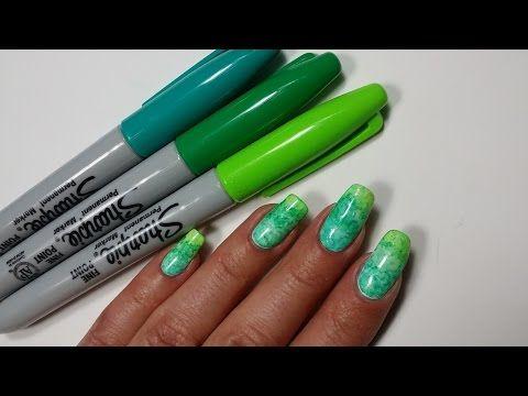 Sharpie Nail Art Diy Sparkly Neon Highlighter Rainbow Nails