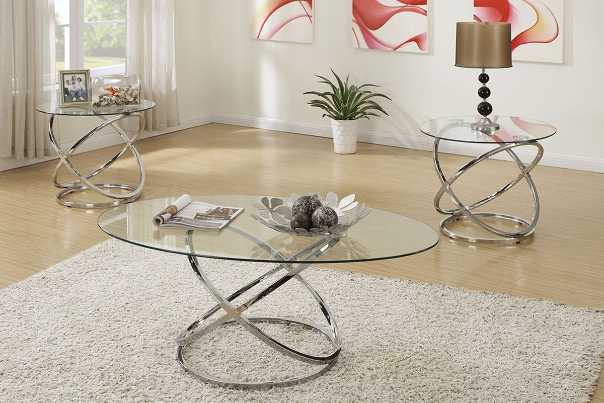 Glass And Chrome 3 Piece Occasional Set In 2021 Coffee Table End Table Set Coffee Table Glass Table Set [ jpg ]