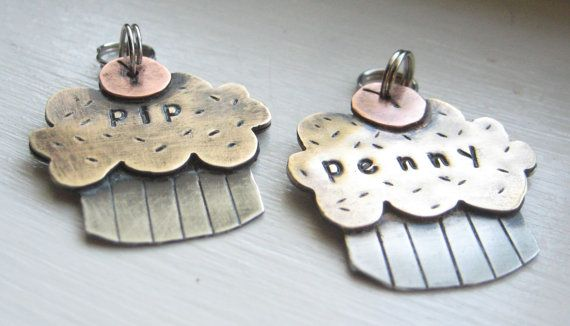 Esty Cupcake Shape Dog Name Tag Pet Id Tag Penny Tag Sweet Tag By
