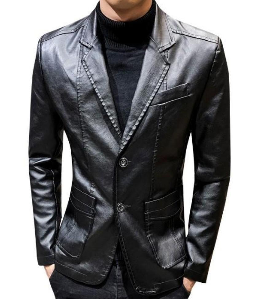 Mens Faux Leather Two Button Blazer Leather Blazer Leather Jacket Men Mens Vegan [ 973 x 850 Pixel ]