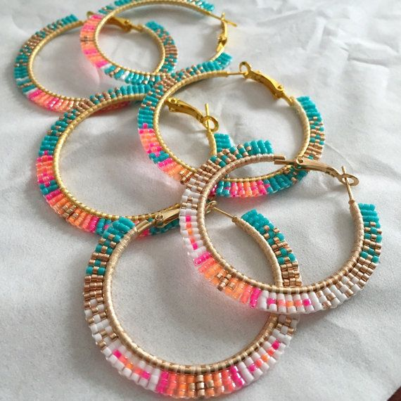9ea05f88a Brick-stitch beaded hoops as pictured above. Another option is a rolled  stitch that wraps around the hoop. Buyers choice of style and colors