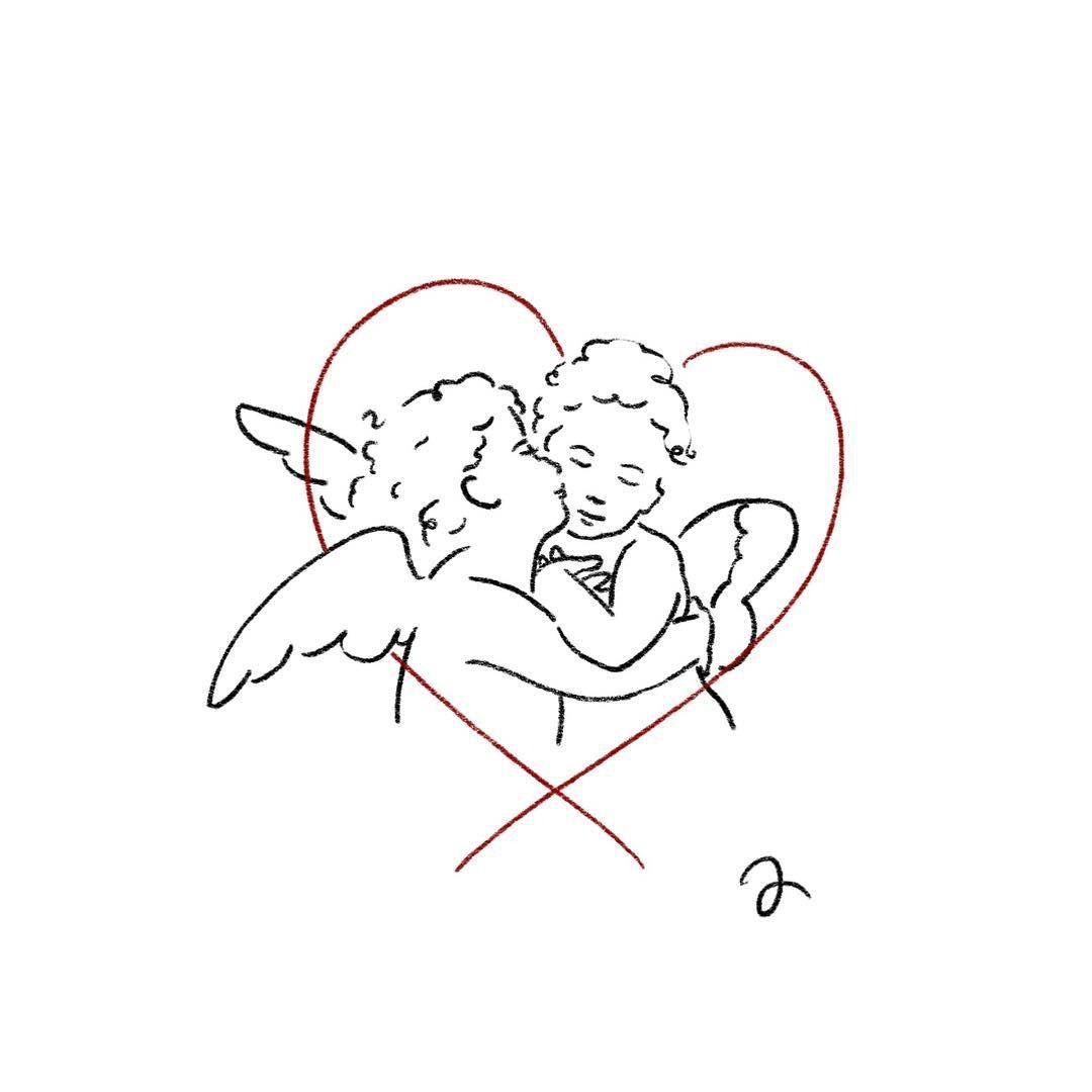 """타투이스트연우 on Instagram: """"L'Amour et Psyché, enfants(1890) William-Adolphe Bouguereau (예약완료) • 도안,시술 문의  Kakao ID : ywoooo •  #tattoo #drawing #art #arttattoo…"""""""