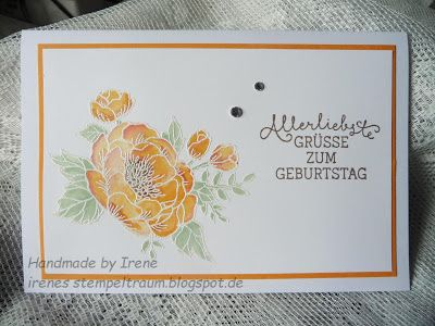 handmade card from Irene stamp dream ... emboss resist water colored Birthday Blooms ... Stampin' Up!