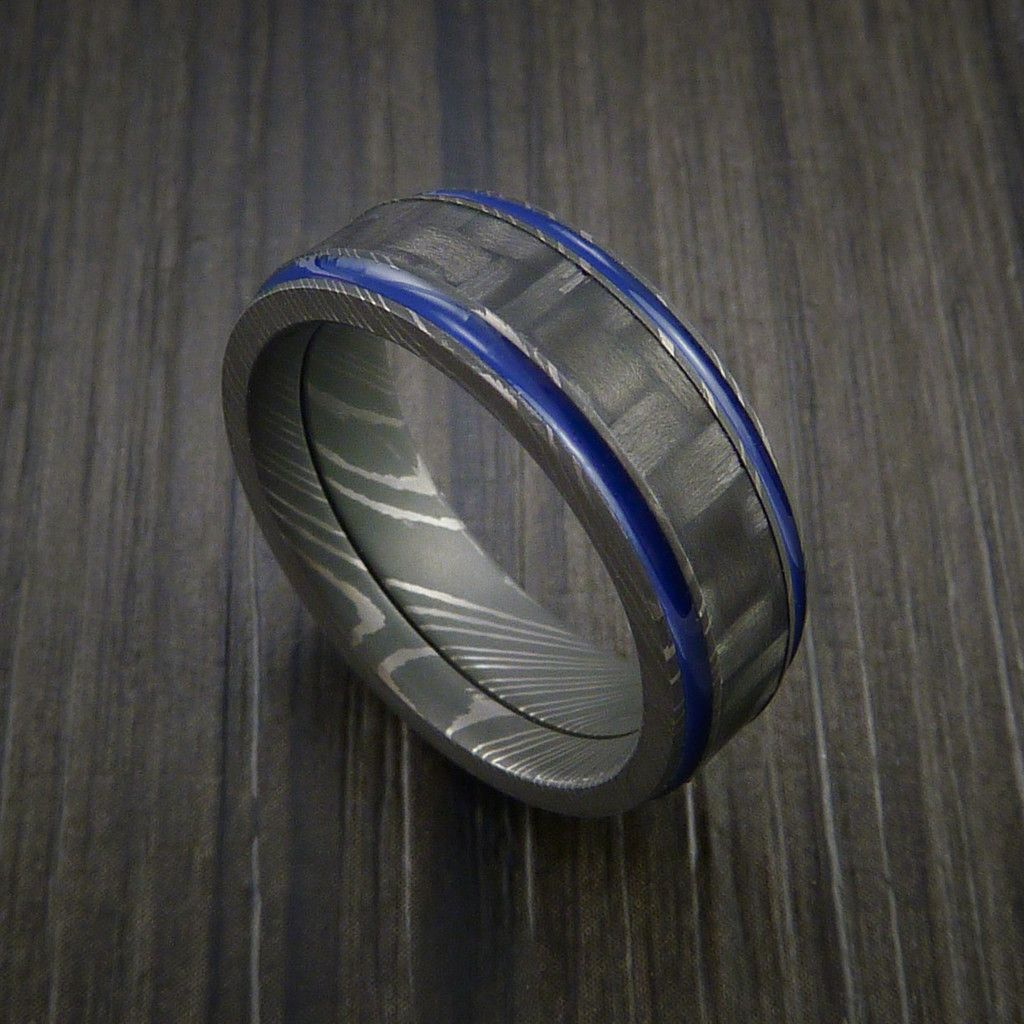 damascus steel wedding bands Carbon Fiber Damascus Steel Ring with Optional Color Inlay